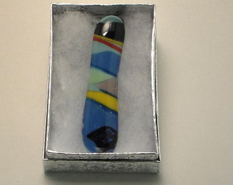 Geometric Shapes Fused Glass Long Pendant