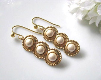 Vintage Style Ivory Pearl Drop Earrings In Brass, Cream Ivory Pearl Earrings, Vintage Style Wedding, Classic Earrings, Gift For Her Under 25