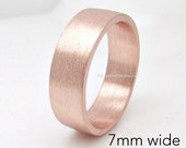 7mm Tube ring- Rose Gold Plated - Over 925 Sterling Silver - Engravable wedding anniversary mens womens flat tube ring - Flat wedding band