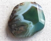 Green agate polished faceted nugget focal bead pendant stone C
