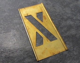 """3"""" Brass Stencil Letter X VINTAGE Brass Stencil Letter X 3"""" X Letter for Scrapbooking Altered Art Assemblage Mixed Media Art Supplies (S7)"""