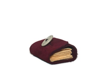 Mini book, miniature book, leather, book charm, book lover, book art, leather journal in Maroon, Vintage button