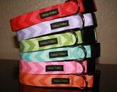 "Chevron Dog Collars ""The Chevrons"" You Pick- Red Purple Green Aqua Pink Orange Yellow or Grey Chevron Dog Collar"