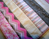 Pink Gray Table Runner White Strippy Handmade Quilted