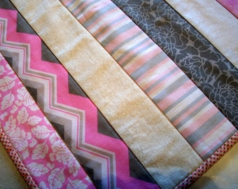 Table Runner Quilted Pink White Gray Strippy Bed Runner Quiltsy Handmade FREE U.S. Shipping