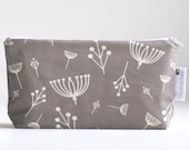makeup bag. small. waterproof. cosmetic bag. organic cotton. grey. modern floral print.