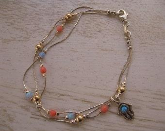 Dainty Bracelet, Hamsa Charm Bracelet, Coral Bead Jewelry, Opal Hamsa Charm Bracelet, Opal Bead Bracelet, Layering Jewelry, Delicate Charm