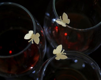 edible butterfly, 100 Wafer Paper Lucky Charm Butterflies, in Gold, Silver or Pearl colors