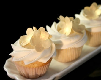 60 Wafer Classic 5-petal Flowers in Gold, Silver or Pearl