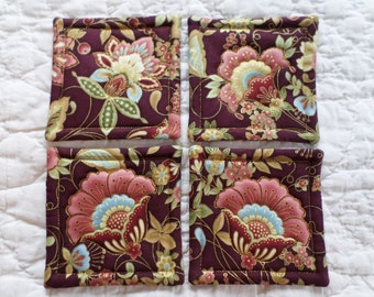 Dark Burgandy With Flowers Quilted Coasters (Set of 4)
