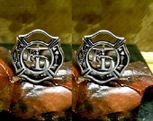 Firefighter Cufflinks Sterling Silver Free Domestic Shipping
