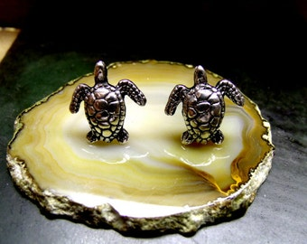 SEA TURTLE STUD  Earrings Sterling Silver Free Shipping
