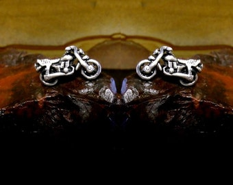 Motorcycle Stud Earrings Sterling Silver Free Domestic Shipping