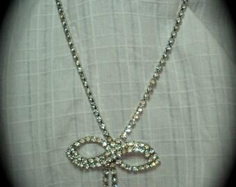 1950s Rhinestone Bow Necklace 2.