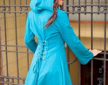 Faye Tality couture TURQUOISE corset laced hoodie Fairy pixie steampunk cloak jacket modern red riding hood girly pirate