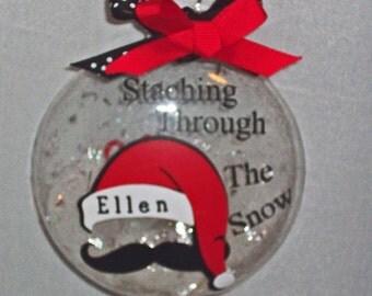 Christmas, glass, ornament,4 inches, flat, santa, personalized, Stache, mustache
