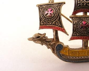 Vintage Viking Pirate Ship Brooch Sailing Spain