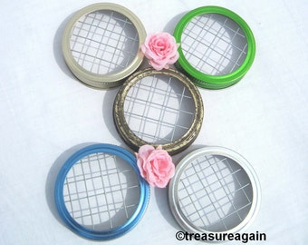 Mason Jar Flower Frog Lids Blue, Green, Silver, Gold, Rustic Gold, 5 Colors, Floral Home Decor