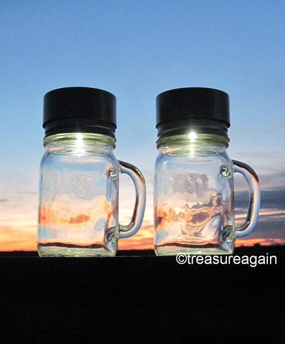 2 Mason Jar Mug Lights Outdoor Backyard Solar Lights for Garden, Camping, Lake House, Party, Patio, Deck, Eco Friendly Nights