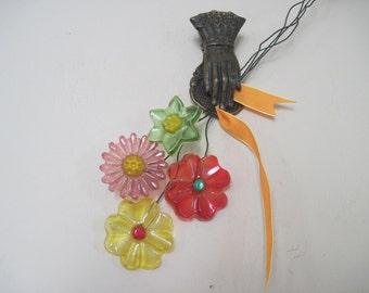 vintage 1960s resin flowers - springtime bouquet, set of 4 - Flower Power, hippie, boho, Parisian Chic