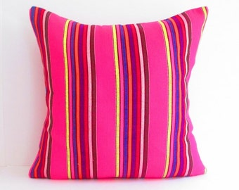 Pink pillow, Dark pink cushion, Tribal Pillow Cover, aztec, Bohemian Decor, Boho Bedding, Mexican Cushion, Square, tribal pillowcase.