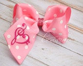 Embroidered Valentines Day Hair Bow: Pink Valentine Bow, 1st Valentine Bow, Birthday Bow