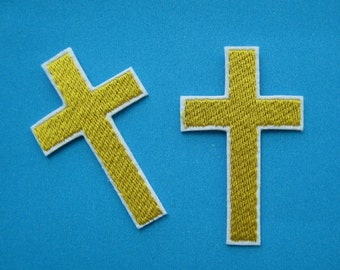 2 pcs iron-on Embroidered Patch Cross (gold) 2.4 inch