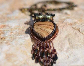 Bead embroidery pendant Wise owl  - OOAK Handmade Jewelry