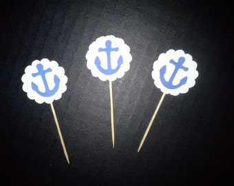 Blue Anchor Food Picks and Basic Cupcake Toppers