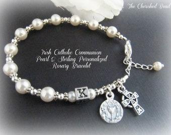 Irish Catholic Communion Pearl & Sterling Personalized Rosary Bracelet