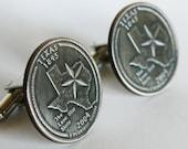 2004 Texas State Quarter Cufflinks cuff links jewelry by Custom Coin Rings Handmade