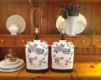 CHINOISERIE FLORAL LAMPS / Vintage Blue and White Lamps / Chinoiserie Hollywood Regency Style / On Sale at Retro Daisy Girl