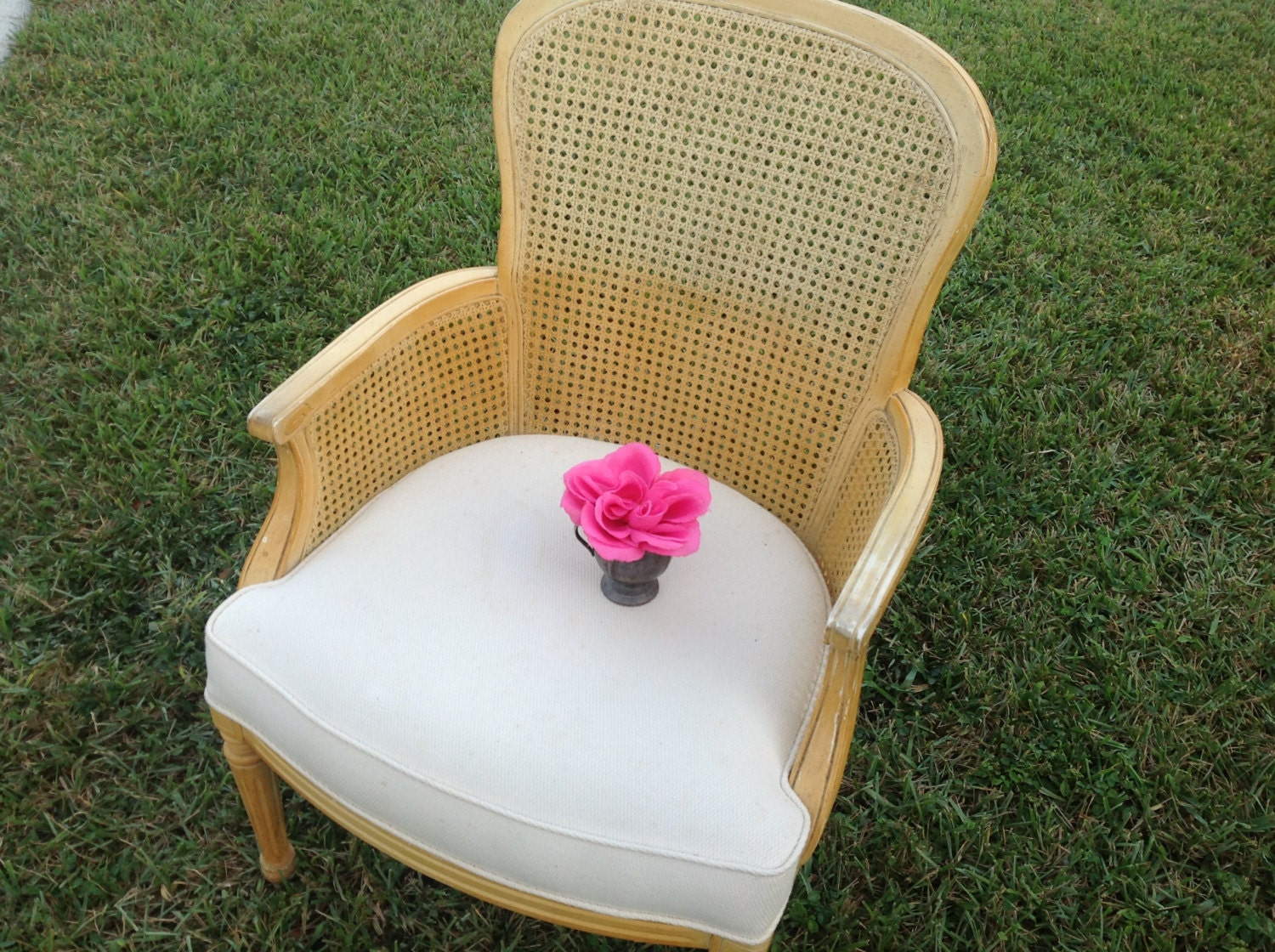 Cane Back Arm Chair Shabby Chic French Cottage Style On Sale