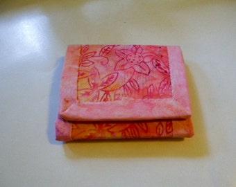 Coral Pink Batik Trifold Wallet