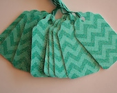 Teal Glittered Chevron Gift Tags (10)