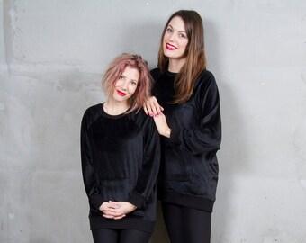 Velvet Oversized Sweater Black | Soft Drapey Sweatshirt Tunic | Velvet Jumper w Pockets | Sweatshirt Dress