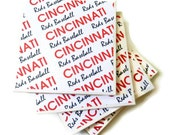 Cincinnati Coasters, Reds Coasters, Baseball Coasters, Cincinnati Reds Baseball Coasters, Ceramic Coasters, Sport Coasters, Gift For Him