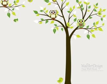 Vinyl Wall Decal Stickers Tree Branch Set with Owls Birds Boy Girl Nursery Green
