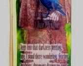 Image of Edgar Allan Poe.   Laminated bookmark.