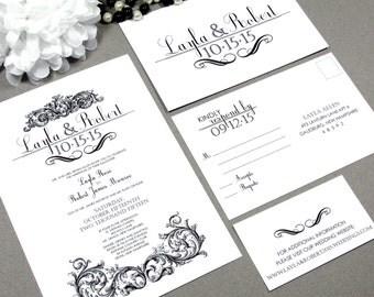 Filigree Wedding Invitations Gothic Invite Black and White Pocket Folder Bellyband Set Victorian Wedding Invitation Suite Formal Invites DIY