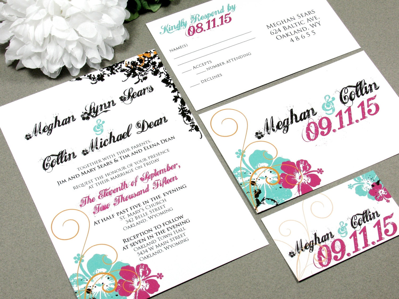 Tropical Wedding Invitations: Hawaiian Hibiscus Flower Wedding Invitation Set By RunkPock