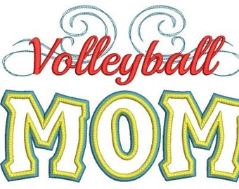 Volleyball Mom Applique Machine Embroidery Design - 4 Sizes