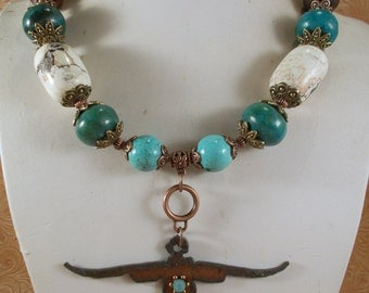 Cowgirl Necklace Set - Chunky White and Aqua Turquoise - Chrysocolla - Texas Longhorn Pendant