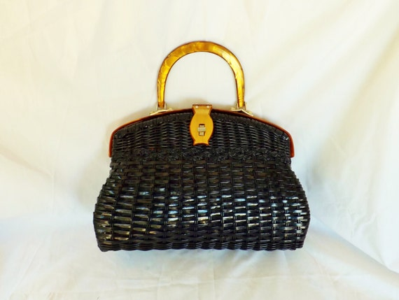 1960s Lucite Handbag / vintage 1960s Copper Brown Lucite and Black Basket Weave Handbag Purse
