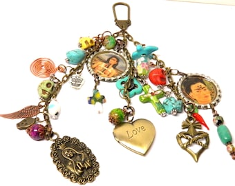 Day of the Dead Necklace Frida Kahlo Turquoise Sugar Skull Jewelry Key Chain Day of the Dead Jewelry Dia de los Muertos Halloween Jewelry #1