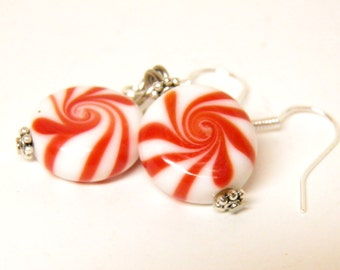Christmas Earrings, Sterling Silver Artisan Lampwork Glass Peppermint Candy Earrings, Christmas Jewelry, Red Swirl Candy Jewelry, OOAK Beads