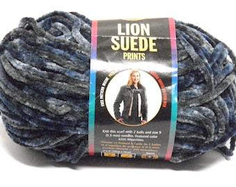 Lion Brand Suede Yarn Skein Suede Seacrest Yarn Bulky Weight Purple Yarn Rare DISCONTINUED