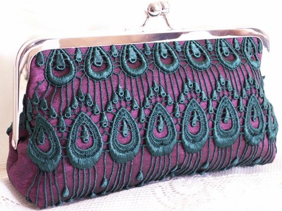 Handmade silk, lace clutch handbag. Purple, emerald, teal. ROYAL PURPLE by Lella Rae on Etsy
