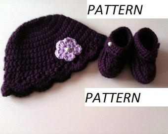 Crochet Pattern: Baby Hat and Booties  GC109