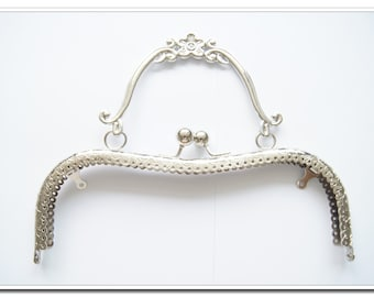 8 inch silver M shape purse frame with metal purse handle